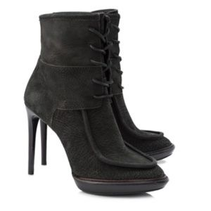 Burberry Black Leather Lace Up Stiletto Boots 8.5